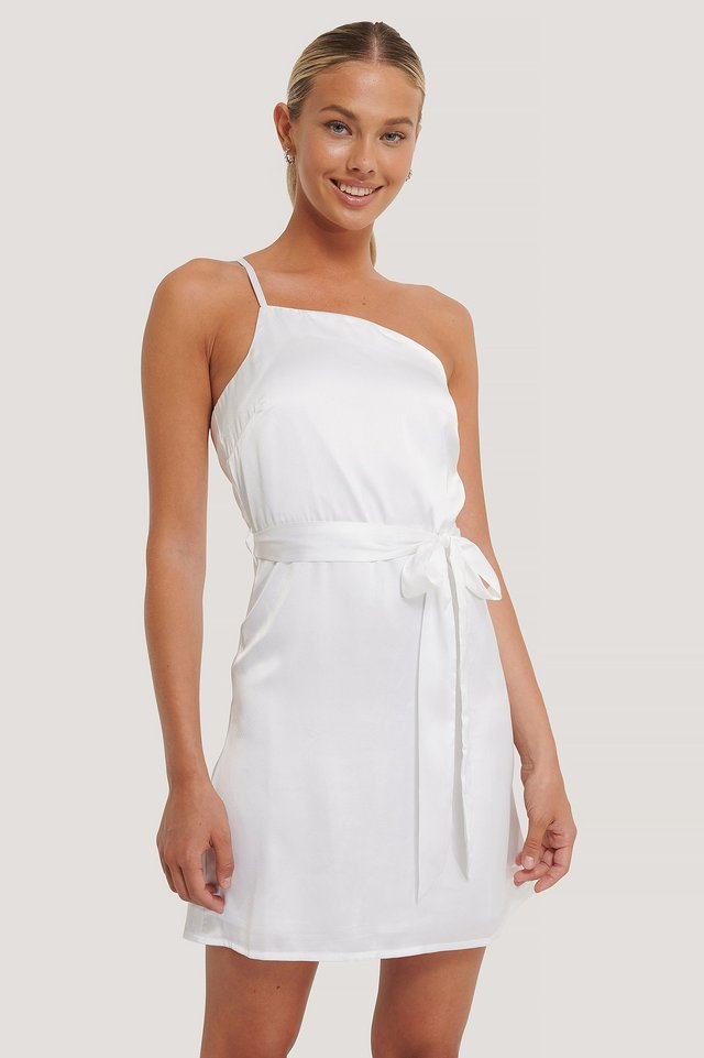 Asymmetric Belted Satin Dress White