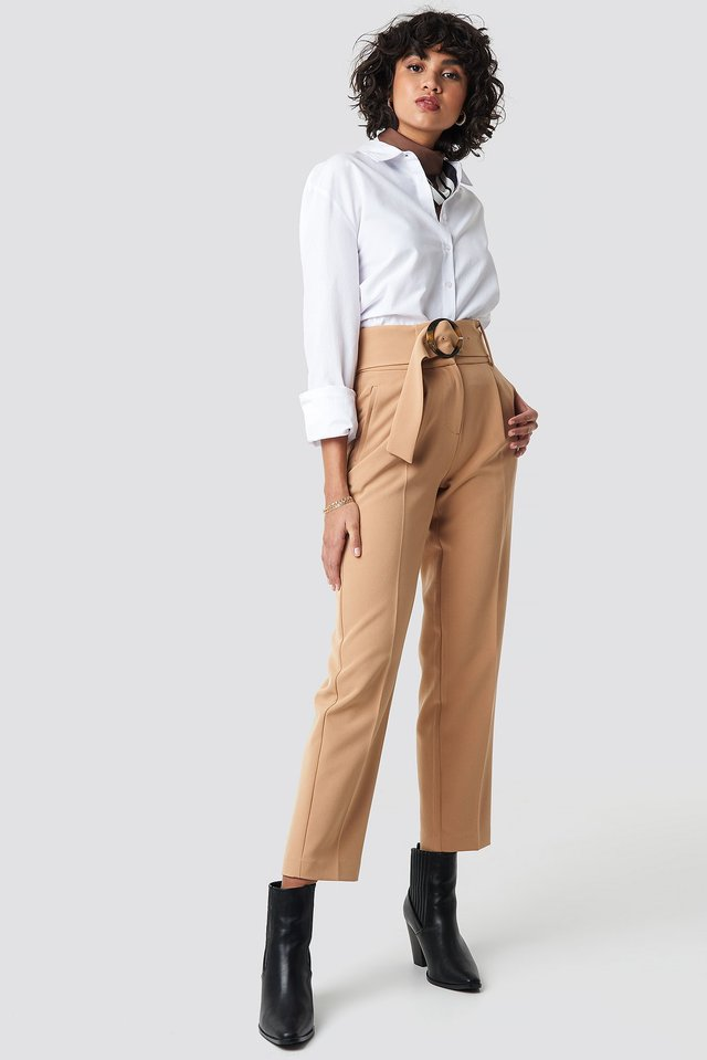 Asymmetric Belted Suit Pants Beige