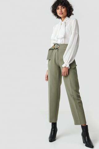 Khaki Green Asymmetric Belted Suit Pants