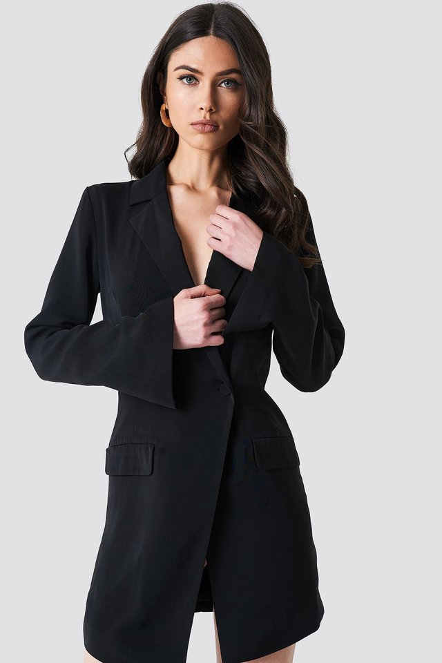 Asymmetric Blazer Dress Black