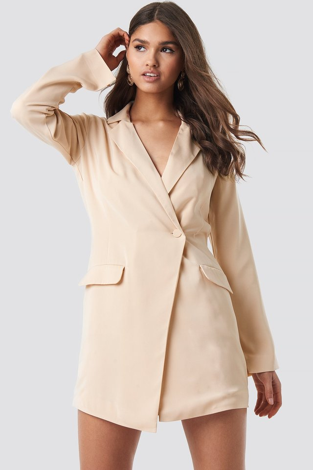 Asymmetric Blazer Dress Beige