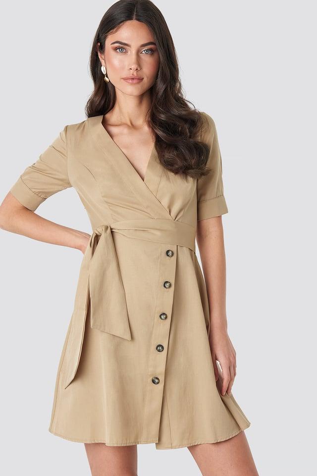 Asymmetric Buttoned Mini Dress NA-KD Boho