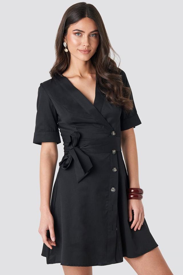 Asymmetric Buttoned Mini Dress Black