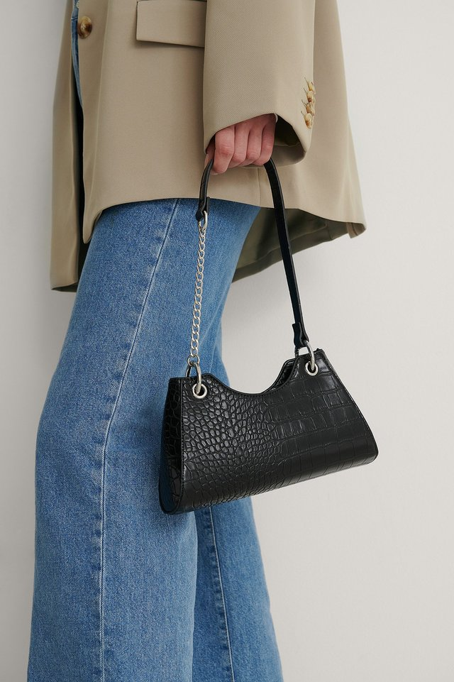 Black Asymmetric Chain Baguette Bag