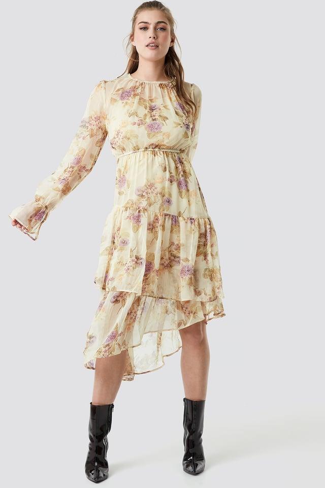 Asymmetric Chiffon Frill Dress Soft Floral Pattern