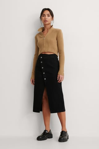 Black Organic Asymmetric Denim Skirt