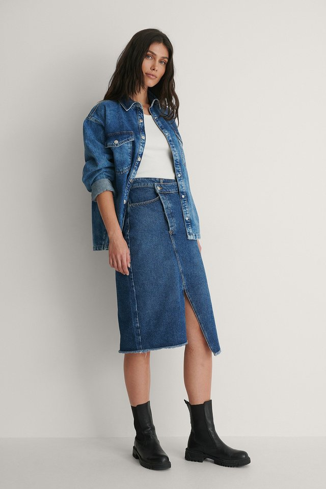 Mid Blue Organic Asymmetric Denim Skirt