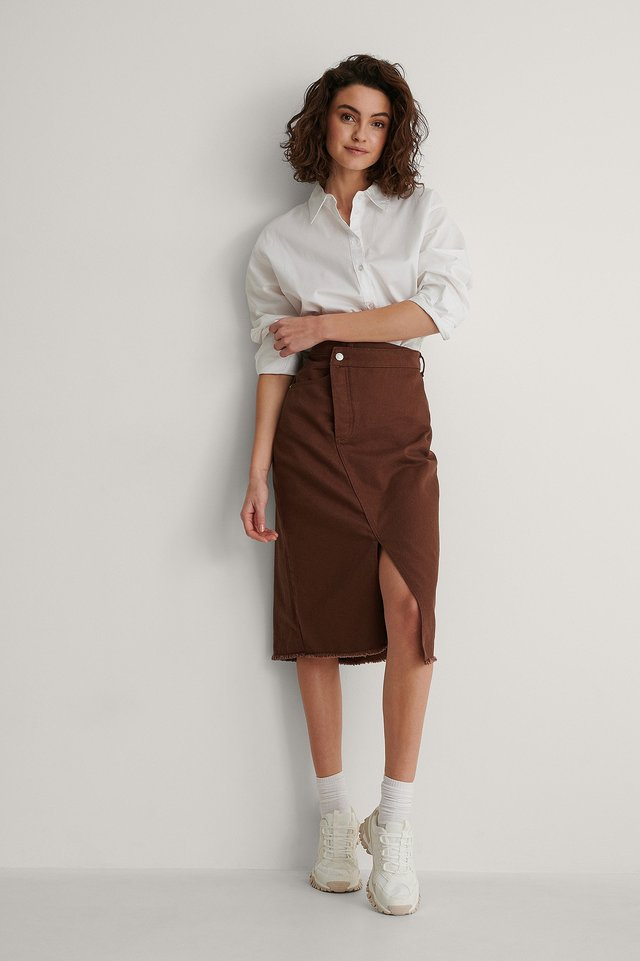 Dark Brown Organic Asymmetric Denim Skirt