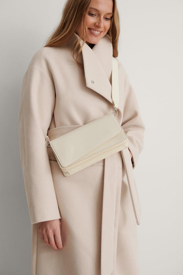 Offwhite Asymmetric Flap Crossbody Bag