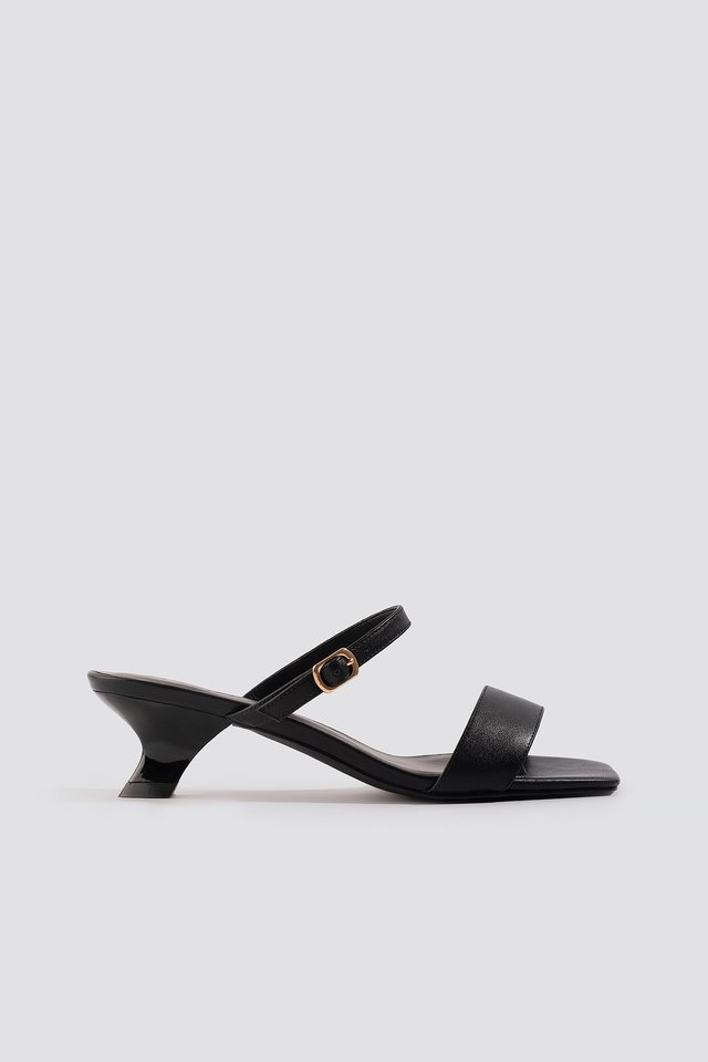 Black Asymmetric Heel Squared Sandals