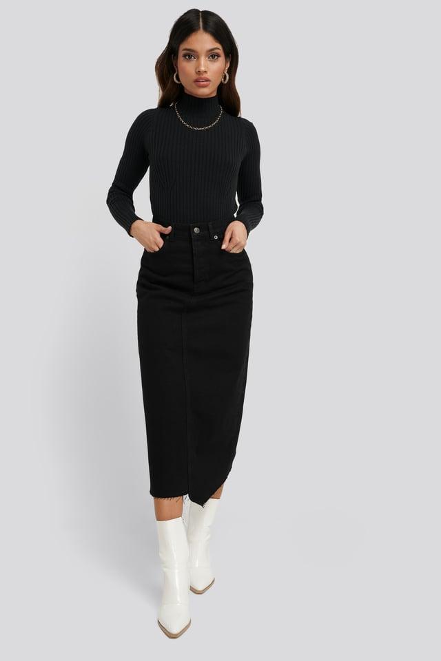 Black Asymmetric Hem Denim Skirt