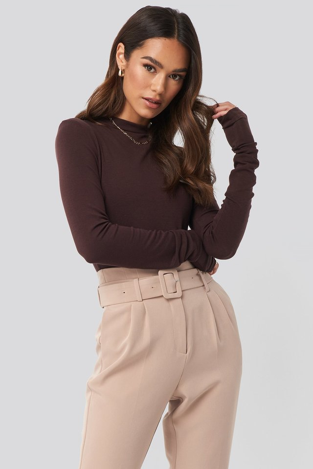 Asymmetric High Neck Long Sleeve Top Brown