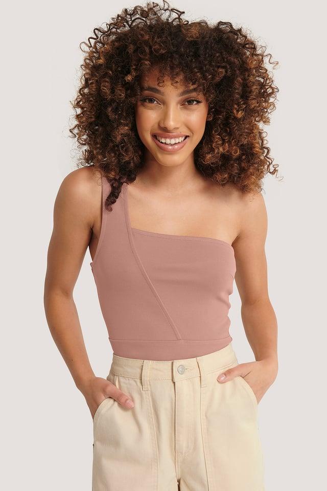 Asymmetric Jersey Top Dusty Dark Pink