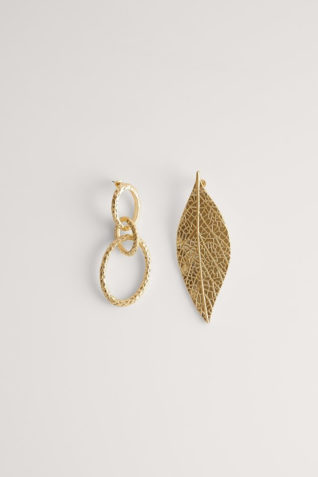 Gold Asymmetric Leaf Earrings