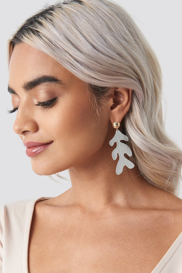 Asymmetric Leaf Earrings Silver/Gold