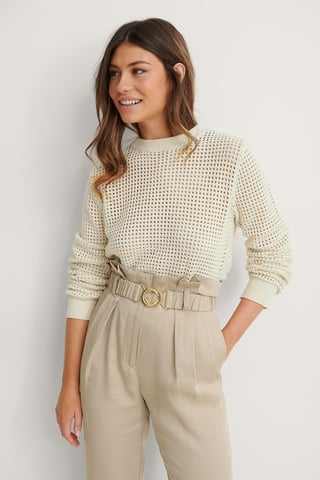 Light Beige Organic Asymmetric Long Sleeve Knitted Sweater
