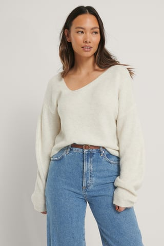 Offwhite Asymmetric Neckline Knitted Sweater