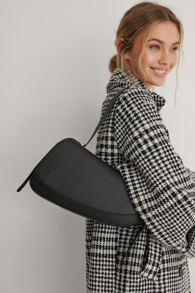 Black Recycled Asymmetric Saddle Bag
