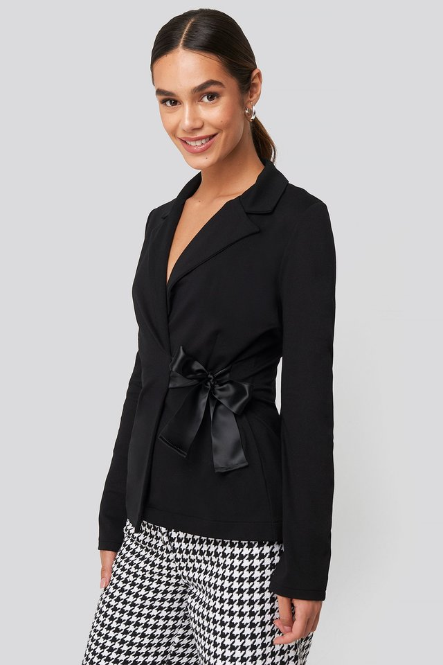 Asymmetric Side Tie Blazer Deep Black