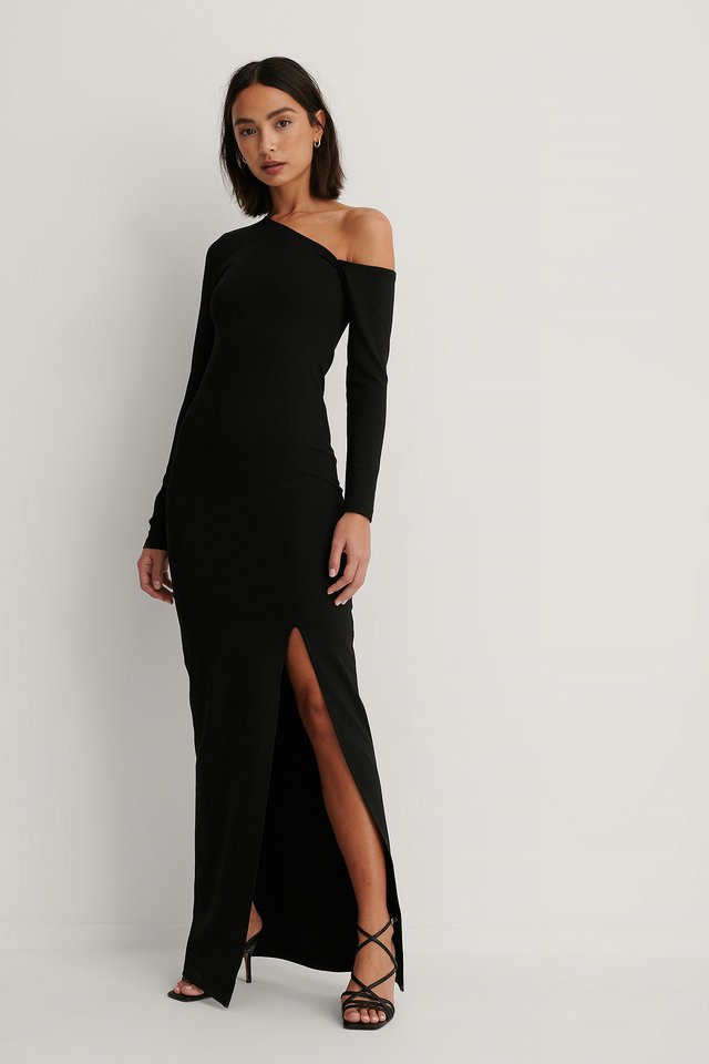 Black Asymmetric Slit Detail Maxi Dress