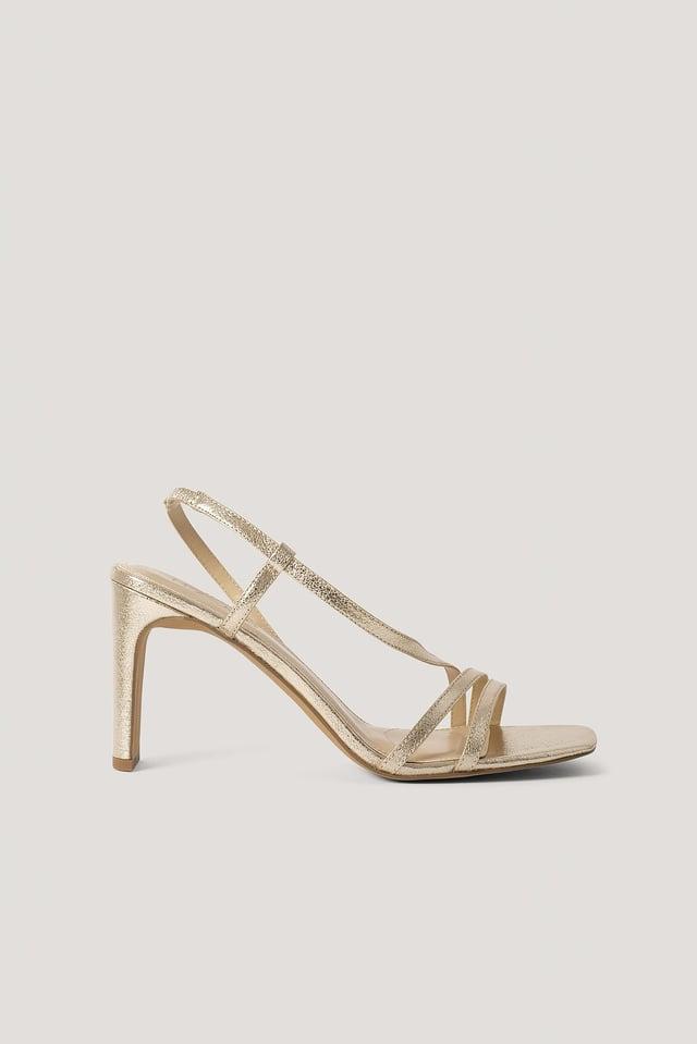 Gold Metallic Sandały Na Wysokim Obcasie