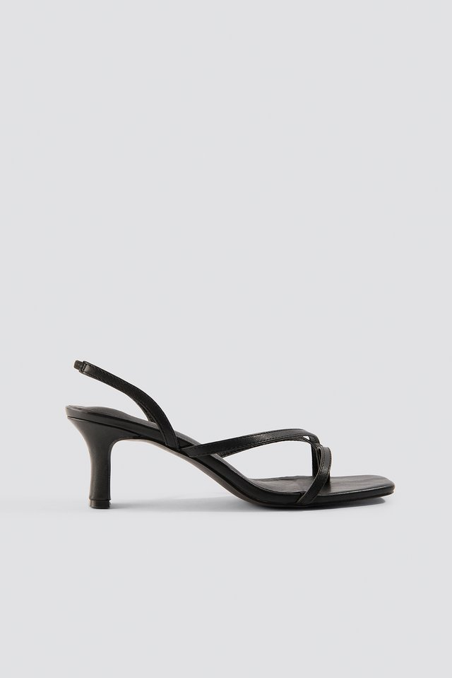 Black Asymmetric Straps Sandals