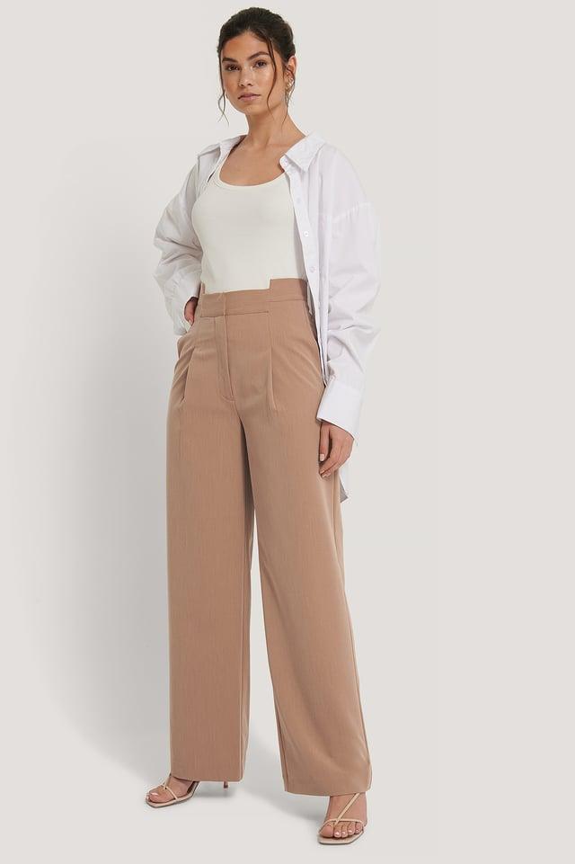 Beige Asymmetric Waist Pants