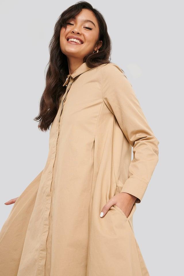 Asymmetrical Shirt Dress Beige