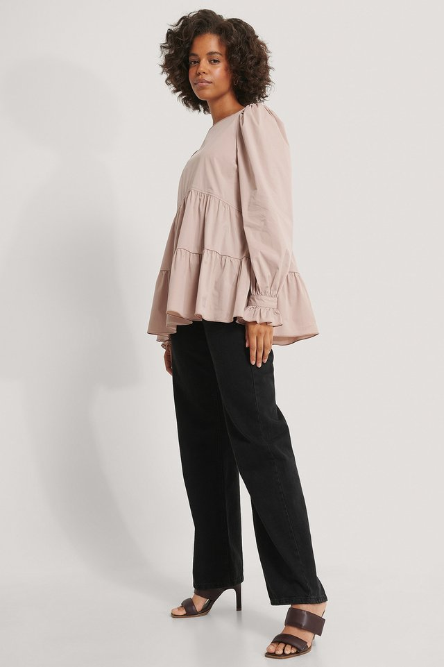 Blouse Met Ruches Dusty Pink