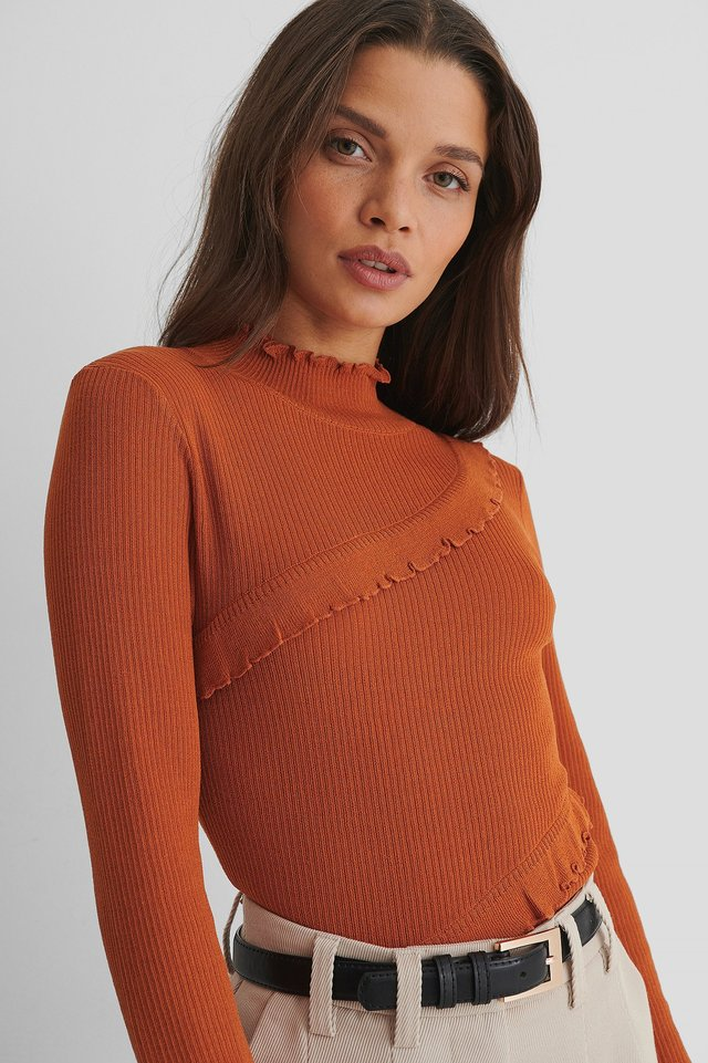 Babylock Detail Knitted Sweater Rust