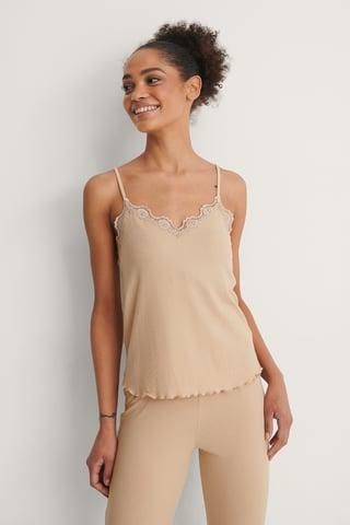 Beige Babylock Loungewear Lace Singlet