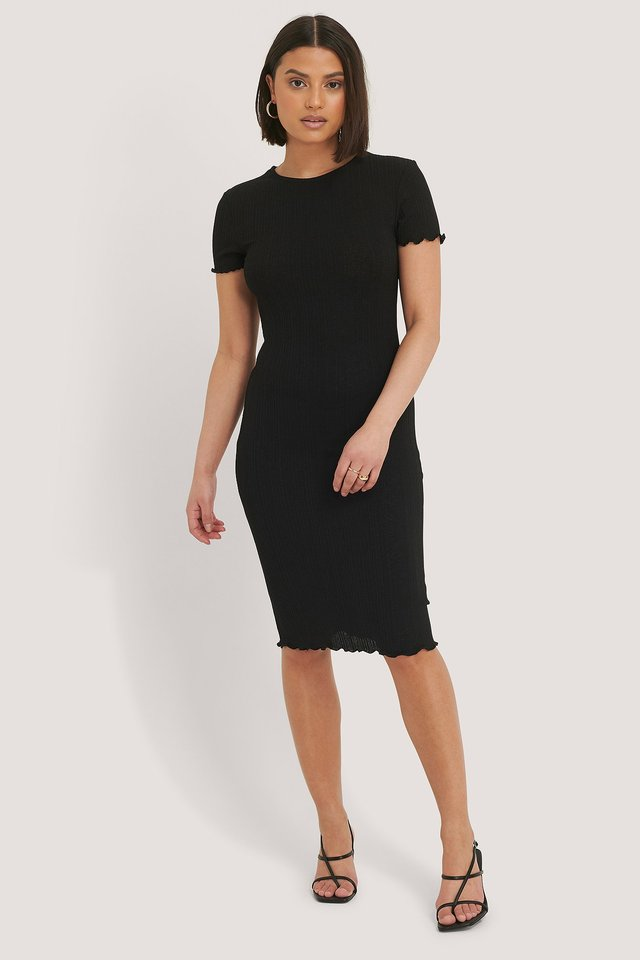 Babylock Ribbed Dress Black