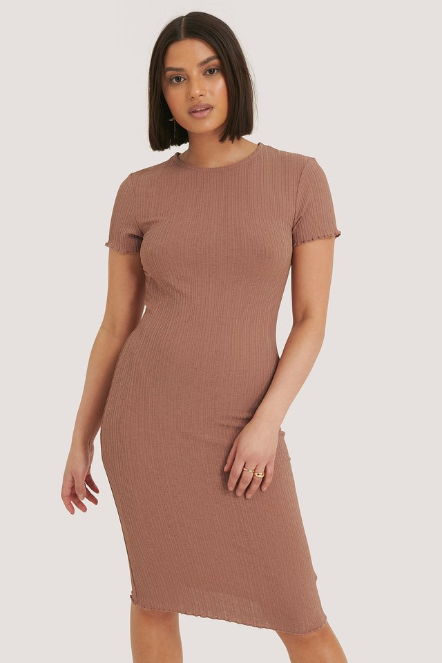 Babylock Ribbed Dress Dusty Dark Pink