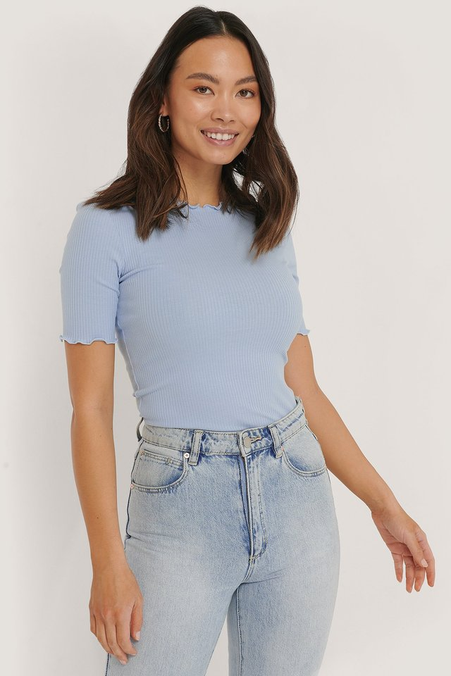 Babylock Ribbed Top Dusty Blue