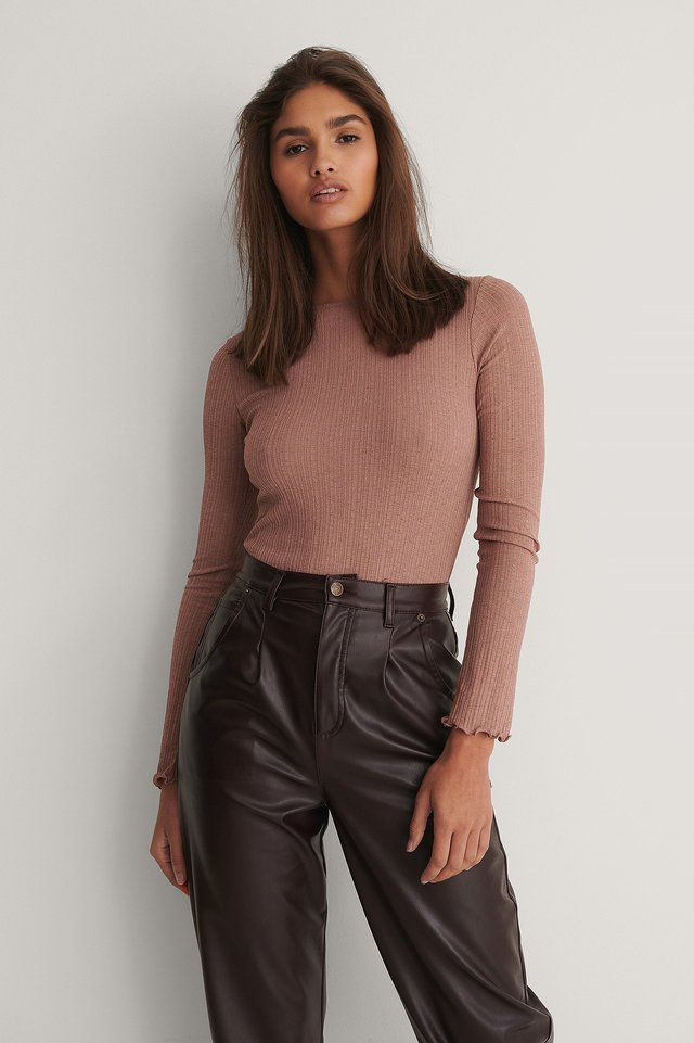 Babylock Round Neck Long Sleeve Top Dusty Dark Pink
