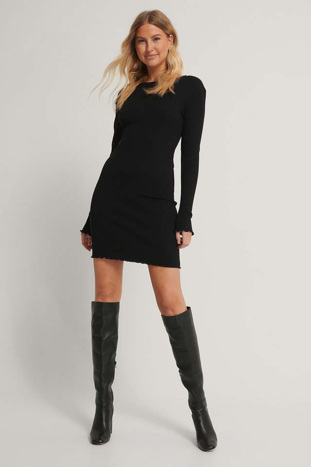 Black Babylock Ribbed Long Sleeve Dress