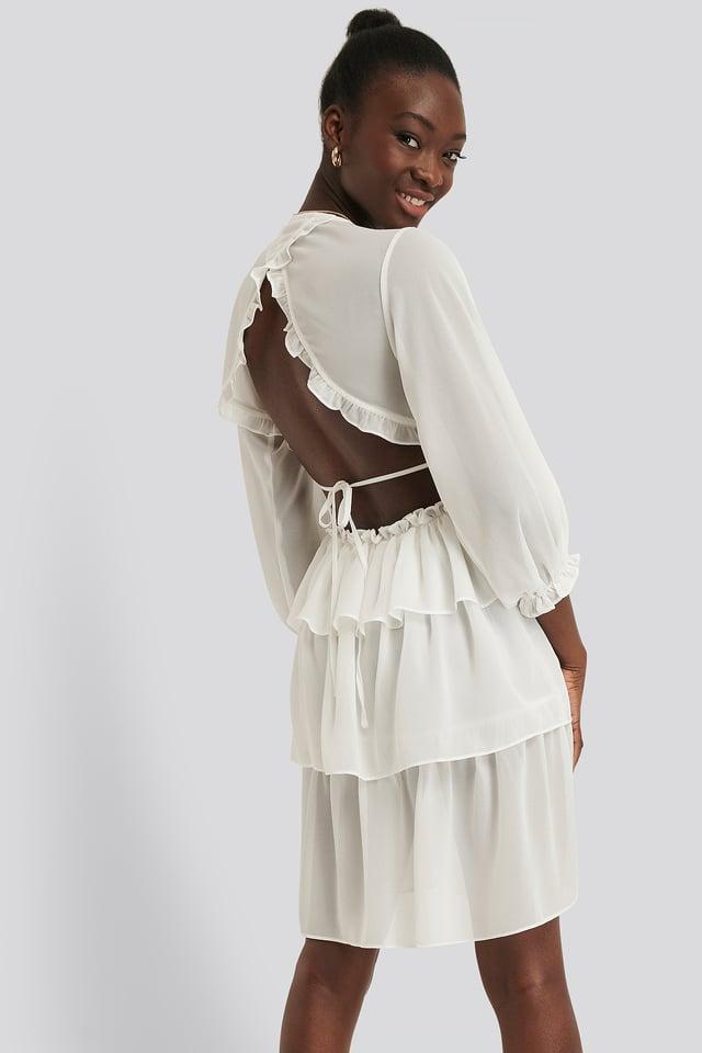 Sukienka Z Falbankami White