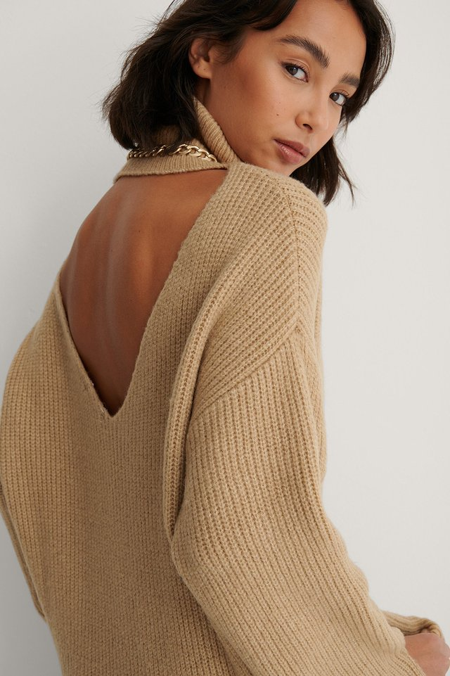 Beige Back Detail Knitted Sweater