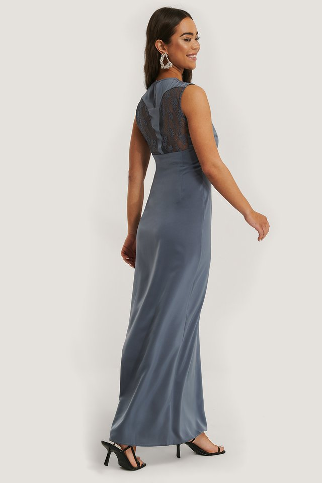 Back Detail Maxi Dress Stone Blue