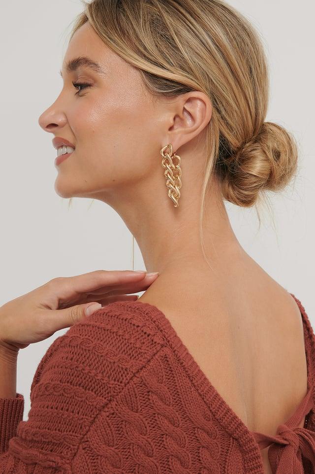 Back-Drop-Chain-Ohrringe Gold