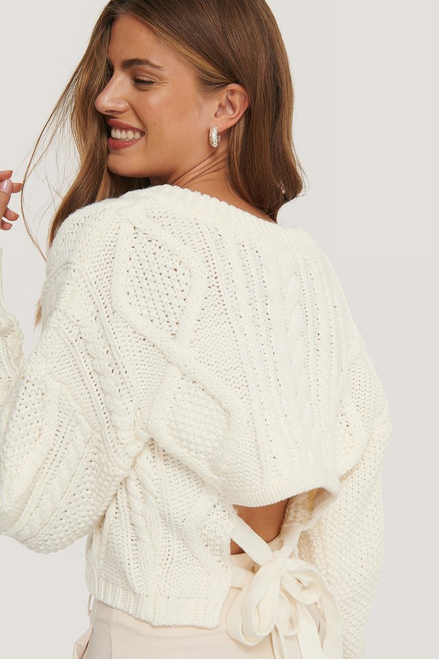 White Back Knot Detail Cable Knit Sweater