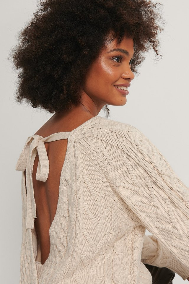 Beige Back Overlap Cable Knitted Sweater
