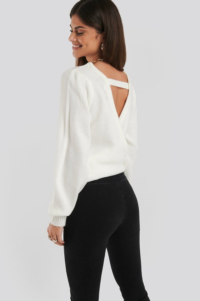 Back Overlap Puff Sleeve Knitted Sweater White
