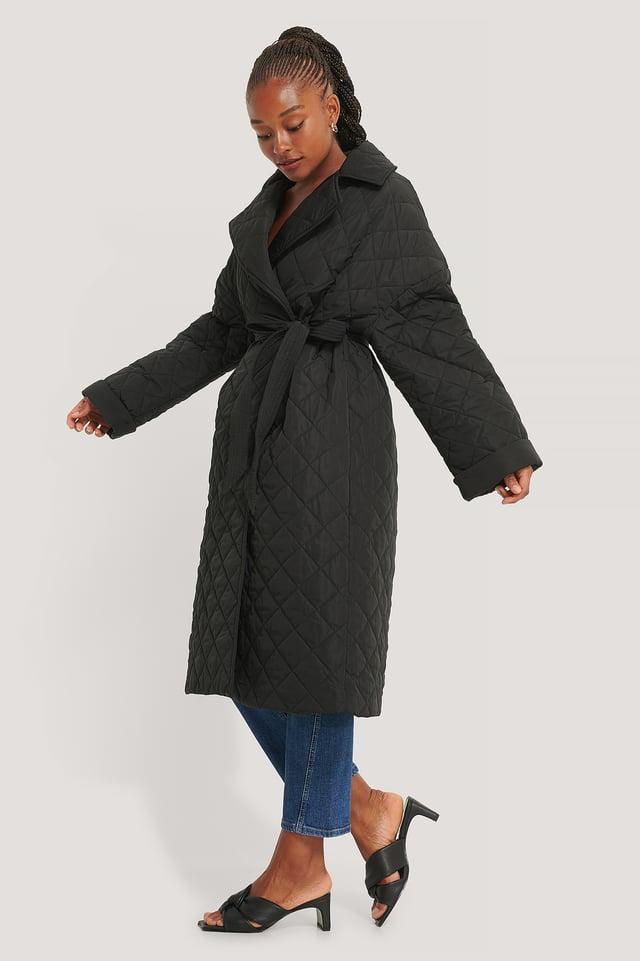 Back Slit Quilted Coat Black