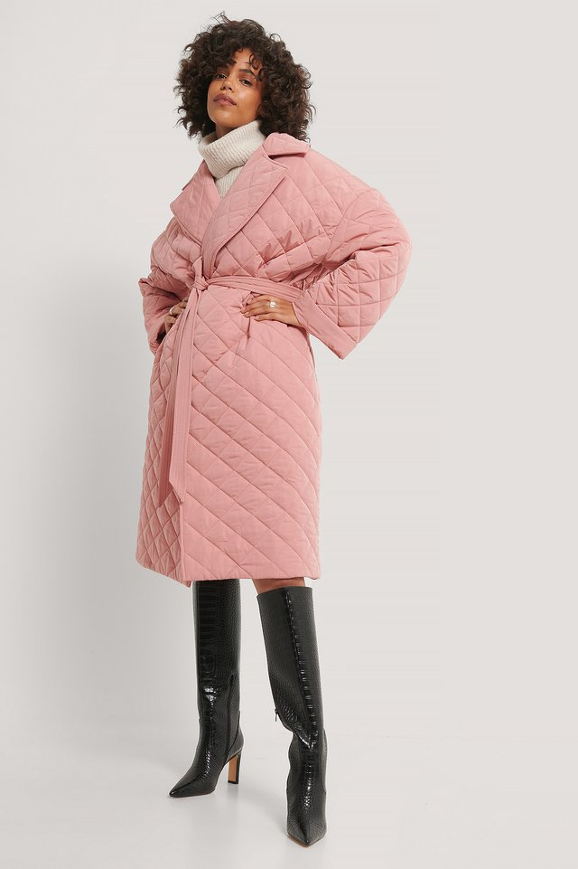 Back Slit Quilted Coat Dusty Pink