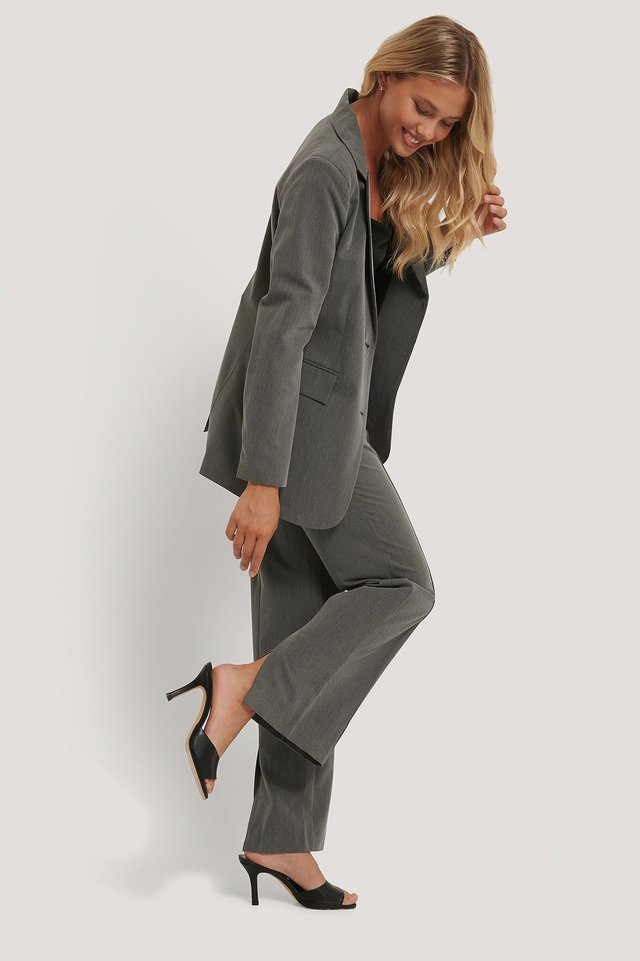 Grey Back Slit Suit Pants