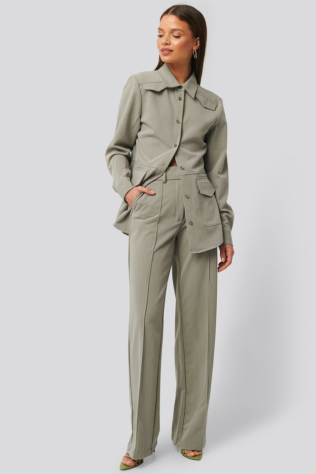 Back Slit Suit Pants Dusty Light Green