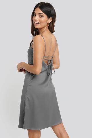 Silver Back Strap Detail Satin Dress