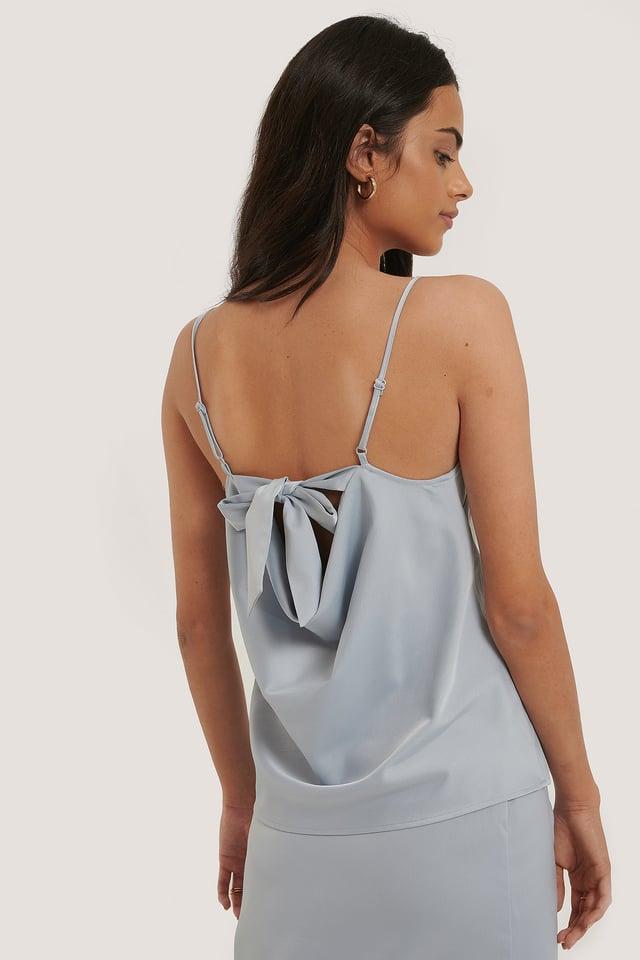 Back Tie Strap Singlet Light Blue