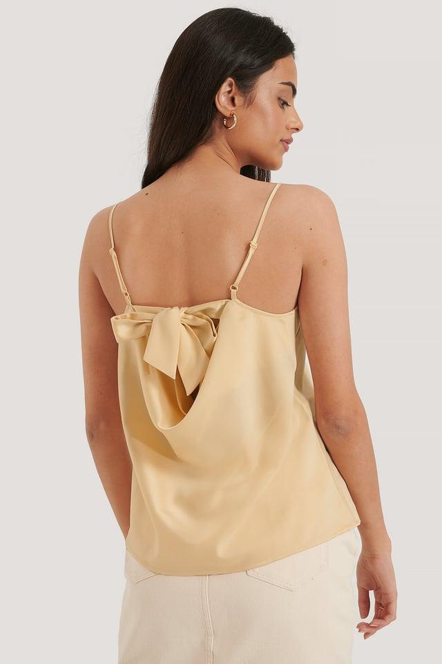 Back Tie Strap Singlet Cream